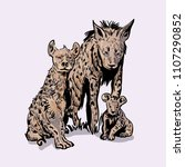 hyena's family. hand drawn... | Shutterstock .eps vector #1107290852
