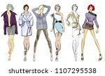 stylish fashion models. pretty... | Shutterstock . vector #1107295538