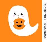 flying ghost spirit holding... | Shutterstock .eps vector #1107308912