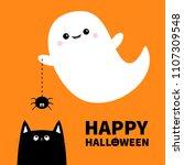 happy halloween. flying ghost...   Shutterstock .eps vector #1107309548