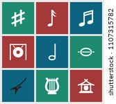 melody icon. collection of 9... | Shutterstock .eps vector #1107315782