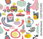 cute seamless pattern with... | Shutterstock .eps vector #1107321332
