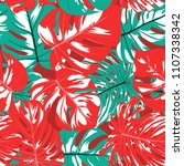 seamless tropical pattern with... | Shutterstock .eps vector #1107338342