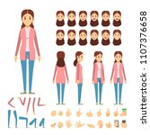 casual girl fashion vector... | Shutterstock .eps vector #1107376658