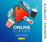 online cinema film banner...   Shutterstock .eps vector #1107384176