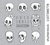 cute doodle skull collection | Shutterstock .eps vector #1107388778