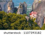 monastery meteora of greece ... | Shutterstock . vector #1107393182