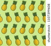 pineapple tropical fruit vector ... | Shutterstock .eps vector #1107399608