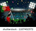 soccer supporter hold portugal... | Shutterstock .eps vector #1107402572