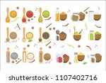 powdered spices bowl and...   Shutterstock .eps vector #1107402716