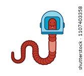 earthworm in spacesuit. worm in ... | Shutterstock .eps vector #1107403358