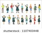 graduating students in black... | Shutterstock .eps vector #1107403448