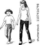 sketch of two strolling small... | Shutterstock .eps vector #1107416798