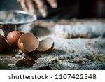 pastry chef 's hands is making... | Shutterstock . vector #1107422348