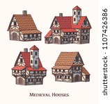 medieval ancient buildings set... | Shutterstock .eps vector #1107426386