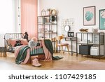 wooden chair at desk with... | Shutterstock . vector #1107429185