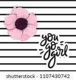 you go girl pink flower... | Shutterstock .eps vector #1107430742