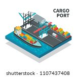 cargo port with loading... | Shutterstock .eps vector #1107437408