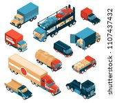isometric delivery trucks set...   Shutterstock .eps vector #1107437432