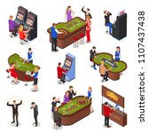 casino playing room isometric... | Shutterstock .eps vector #1107437438