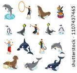 sea circus isometric icons set... | Shutterstock .eps vector #1107437465