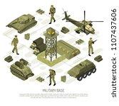 military vehicles isometric...   Shutterstock .eps vector #1107437606