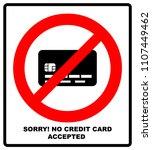 no credit card payment. cash.... | Shutterstock . vector #1107449462