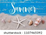 white sand star fish and shells ... | Shutterstock . vector #1107465392