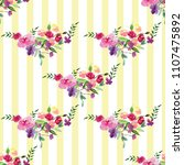 hand painted watercolor pattern ... | Shutterstock . vector #1107475892