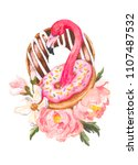 pink flamingo and donuts trendy ... | Shutterstock . vector #1107487532