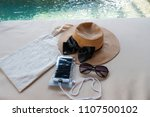 hat tote bag phone and sun... | Shutterstock . vector #1107500102