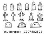 set of grave marker vector on... | Shutterstock .eps vector #1107502526