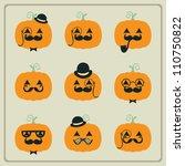 halloween pumpkins | Shutterstock .eps vector #110750822