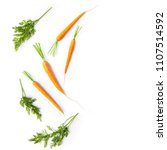 Fresh Carrots And Carrot Stalk...
