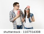 young shocked couple  woman and ... | Shutterstock . vector #1107516308