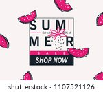 summer sale banner with fruits.  | Shutterstock .eps vector #1107521126