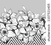 monochrome seamless horizontal... | Shutterstock .eps vector #1107521405