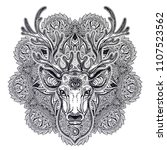 ornate deer head with beautiful ... | Shutterstock .eps vector #1107523562