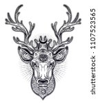 ornate deer head with beautiful ... | Shutterstock .eps vector #1107523565