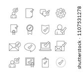 approved icon set isolated on...