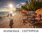 waikiki  oahu  hawaii  united... | Shutterstock . vector #1107549416