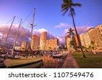 beautiful panorama of sailing... | Shutterstock . vector #1107549476