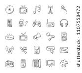 media icons doodle set   | Shutterstock .eps vector #1107553472