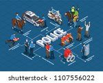 police isometric flowchart with ... | Shutterstock .eps vector #1107556022