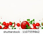 spicy tomato ketchup sauce with ... | Shutterstock . vector #1107559862