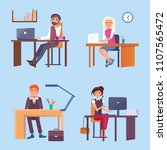 office employees sit at desks... | Shutterstock .eps vector #1107565472