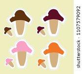 pattern of mushrooms   doodles  ... | Shutterstock . vector #1107579092