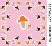 pattern of mushrooms   doodles  ... | Shutterstock . vector #1107591536