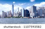 downtown manhattan and east... | Shutterstock . vector #1107593582