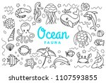 Ocean Fauna Cute Cartoon Doodl...